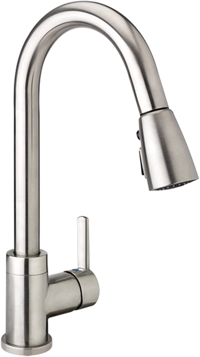 Plumb Pak LOF78CBN Single Handle High Arc, Kitchen Sink Faucet with Pull down Sprayer, Brushed Nickel