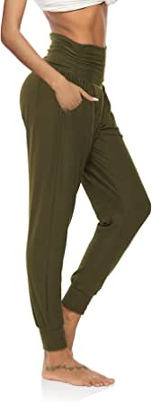Armfre Bottom Womens Casual Jogger Pants Soft Breathable Harem Pants Leggings Elastic Waist Solid Activewear Jogger Track Cuff Sweatpants with Pockets and Drawstring