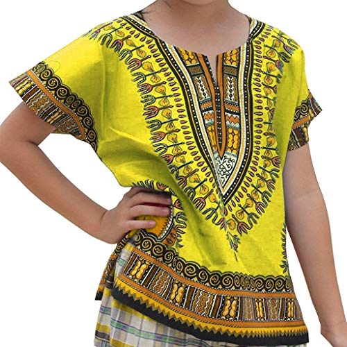 WOCACHI Boys Girls Kids Baby Unisex Bright African Colour Child Dashiki T Shirt Tee Tops 2pcs 3pcs Footies Onesies Playsuits Tutu Princess Granddaughter Rash Guards Short Tee -