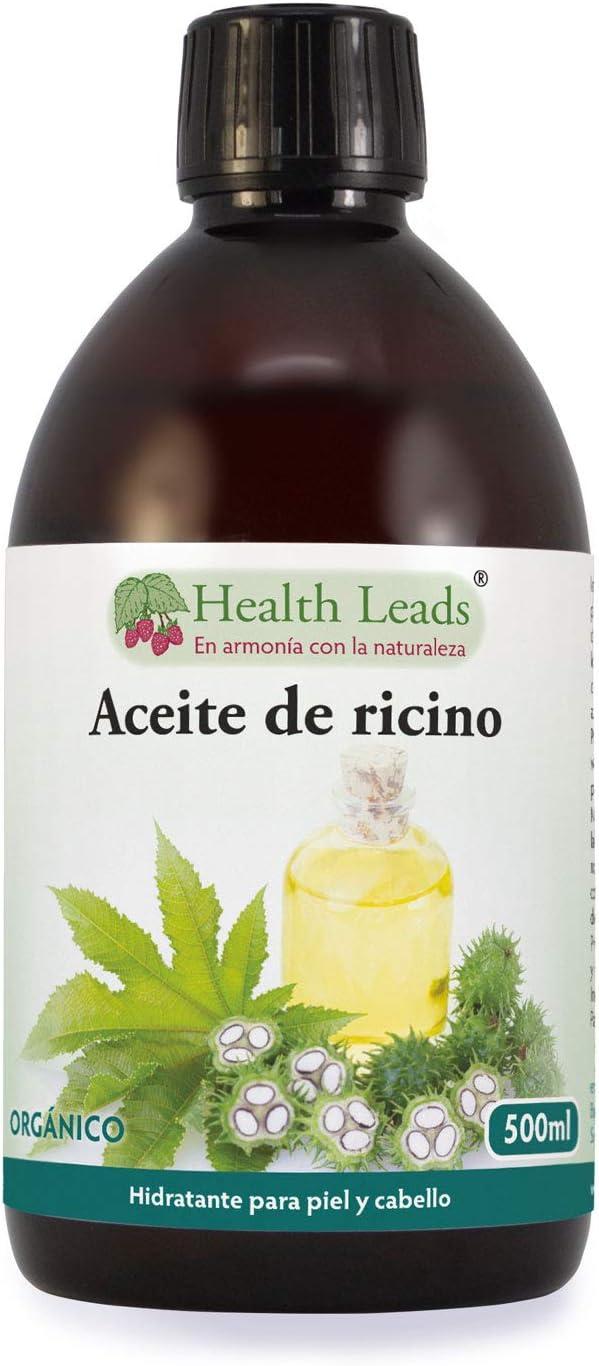 Aceite de ricino prensado en frío y orgánico, Puro y natural, Sin OGMs, No contiene hexano ni disolventes, Vegano, Para un cabello sano, barba, pestañas y cejas y todo tipo de pieles (500ml)