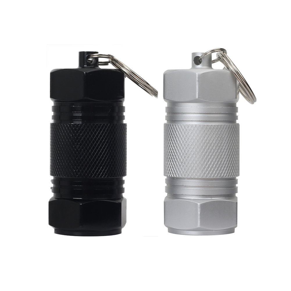 Shintop 2pcs aluminio píldora caso con alta capacidad, contenedor llavero píldora caja impermeable para Camping al aire libre Viajes (negro + plata) HuaRuiXing HRX-YSKYH002
