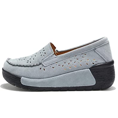 Zapatos Casuales De Cuero De Ante De Las Mujeres Pisos Plataforma Slip-On Chaussures Femme Mocasines Mocasines De Las SeñOras Calzado: Amazon.es: Zapatos y ...
