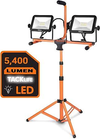 Luz trabajo 6.000 lúmenes con doble cabezal LED y trípode telescópico ajustable