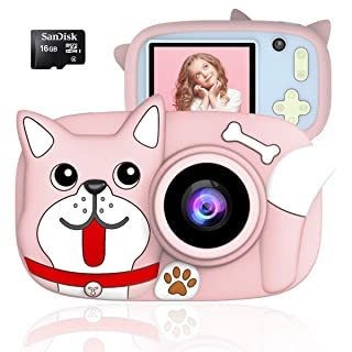 QUELLANCE Kids Digital Camera Gifts for Girls Boys, 15MP and 1080P HD Shockproof Mini Cartoon Child Camcorder, Rechargeable Children Selfie Toy Camera for 3-14-Year-Old, Pink