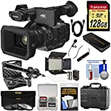 Panasonic HC-X1 4K Ultra HD Video Camera Camcorder with 128GB Card + LED Light + 2 Microphones + Hard Case + 3 Filters Kit