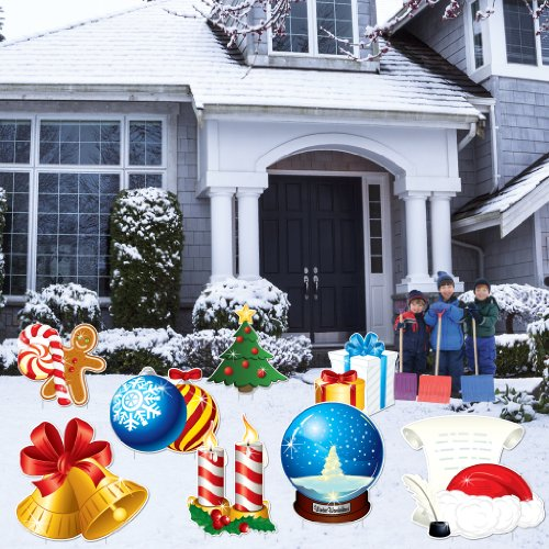 VictoryStore Yard Sign Outdoor Lawn Decorations: Christmas Snow Globes Yard Decoration - Stakes Included