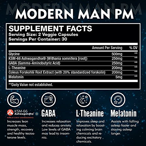 Modern-Man-PM-Fat-Burner-Sleep-Aid-Weight-Loss-Testosterone-Booster-for-Men-Best-Night-Time-Metabolism-Booster-Caffeine-Free-Sleep-Supplement-Burn-Belly-Fat-Build-Lean-Muscle-60-Pills