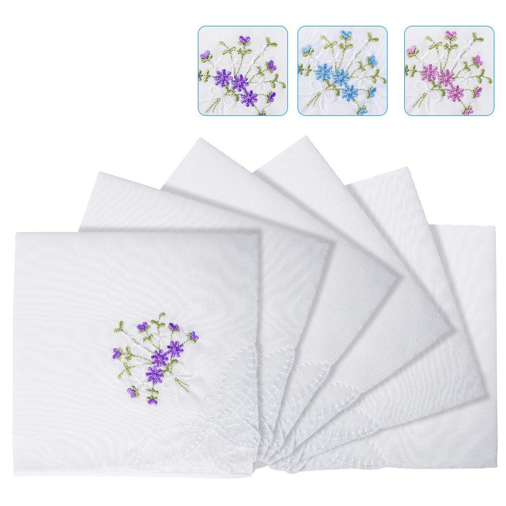 Women's 100% Cotton Handkerchief, Embroidery Hankies Pack of 6 …