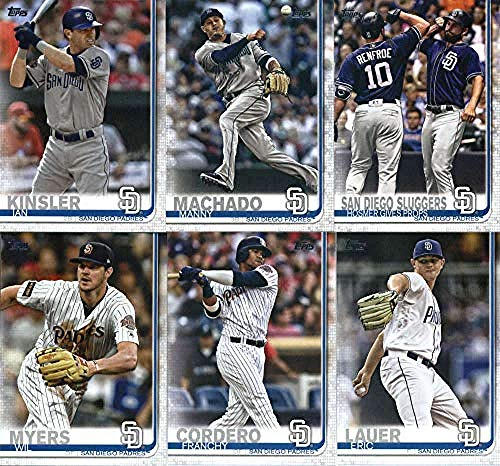 (2019 Topps Series 2 Baseball San Diego Padres Team Set of 14 Cards: Hunter Renfroe(#393), Fernando Tatis Jr. ROOKIE CARD (#410), Francisco Mejia(#446), Greg Garcia(#450), Wil Myers(#485), Eric Homer(#487), Manny Machado(#500), Ian Kinsler(#525), Franchy Cordero(#539), Travis Jankowski(#581), Eric Lauer(#592), Robbie Erlin(#626), Petco Park(#682), Robert Stock(#684))