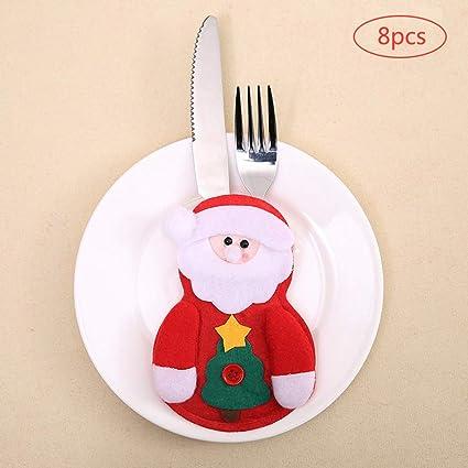 8 piezas Santa de Navidad bolsillos para cubiertos, Decoracion Navidad Papa Noel Adornos Navideños bolso