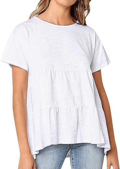 VEMOW Tops Mujer Camiseta Manga Corta O-Neckline con Volantes sólidos Camisas de Mujer Blusa Casual Elegantes: Amazon.es: Ropa y accesorios