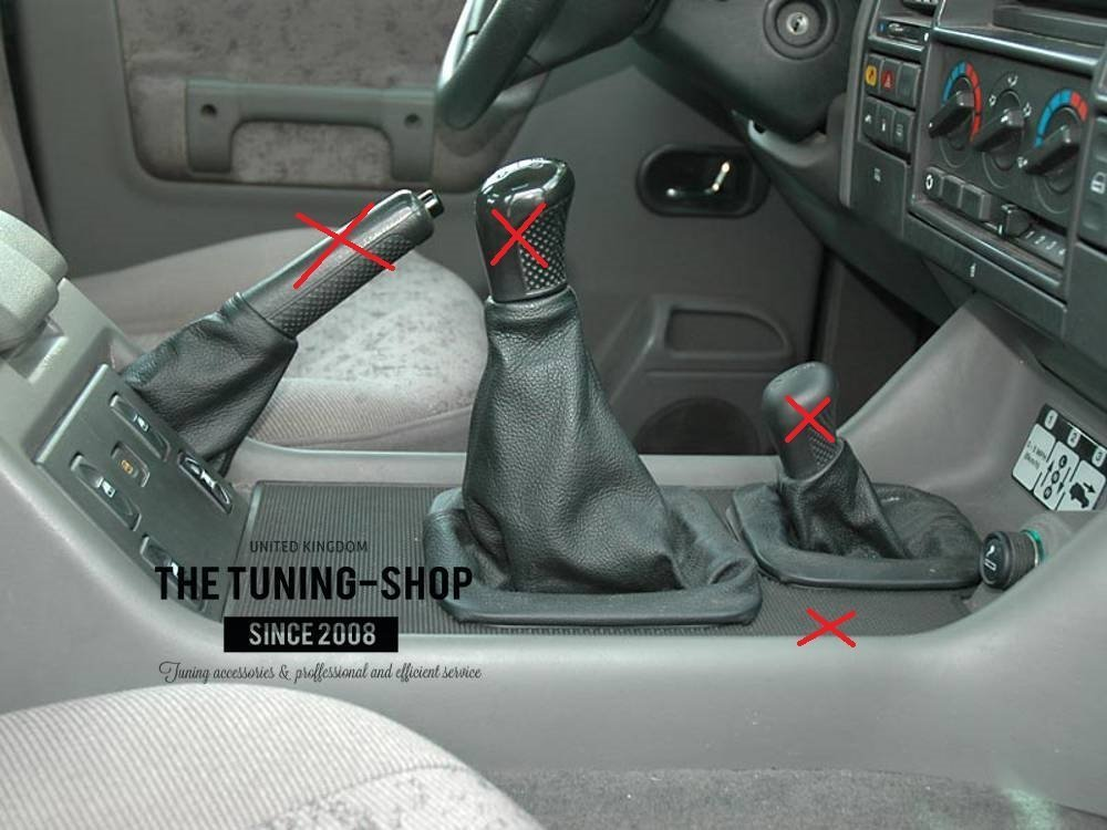 The Tuning-Shop Ltd Fits Land Rover Discovery Series 1 (1995-1998) Or Series 2 (1999-2004) Set Of 3 Gaiters Custom Made Boots Black Genuine Italian Leather With Black Stitching