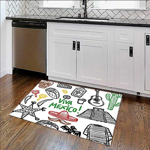 Perfect Kitchen Mat Sketch Latin Object Burritos Guitar Tequila Bottle Pinata Quetzal Coati Multi Easy -