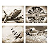 vintage aviation decor - Wallables Antique Sepia Vintage Aviation Wall Art, Set of Four 8x10 Airplane Theme Decor Prints, Great for Mens Gift, Office, Home, Bachelor pad, Barbershop Decoration! Only at