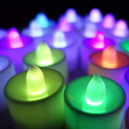 GOYAL® Flame Less Multi Color LED Tealight Birthday/Festival/Anniversary/All Purpose (Pack of 10)