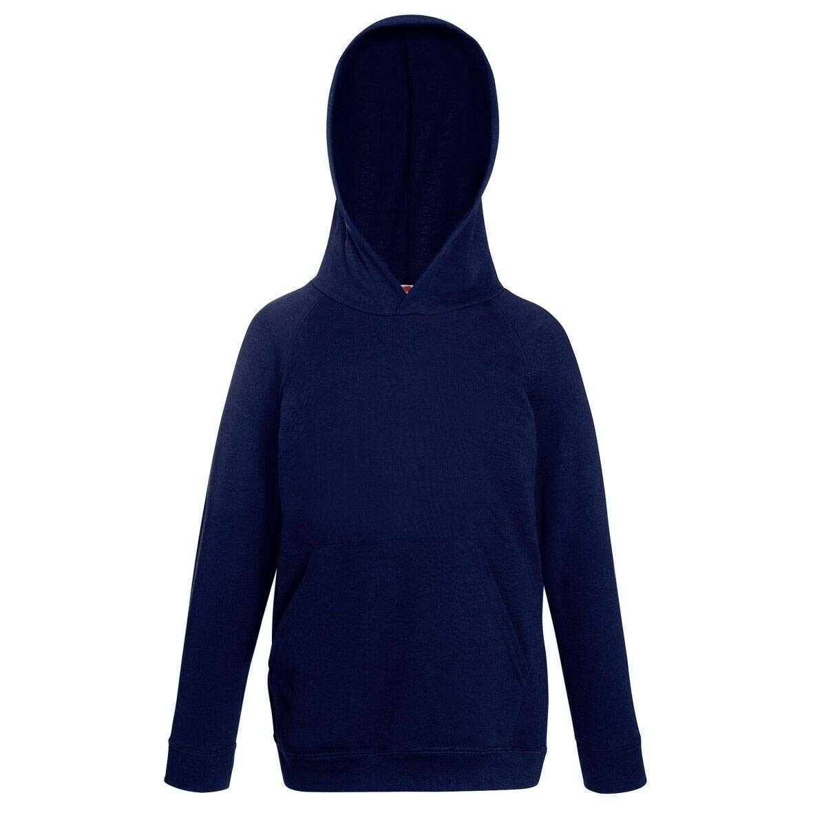 12-13 Azure Blue Fruit of the Loom Childrens Unisex Lightweight Hooded Sweatshirt//Hoodie