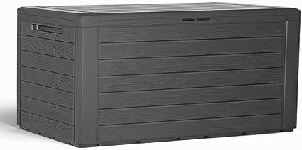 Mojawo Kunststoff Auflagenbox Kissenbox Gartenbox Gartentruhe Fur Polsterauflagen Kunststoff Anthrazit Wasserdicht 280 Liter Amazon De Garten