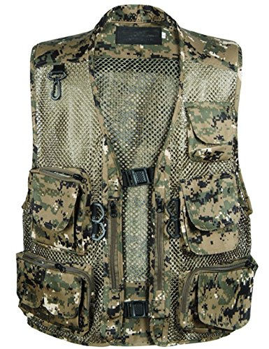 Zhusheng Men's Fishing Outdoor Utility Hunting Climbing Tactical Camo Mesh Removable Vest with Multi Pocket (X-Large, Camo Green)