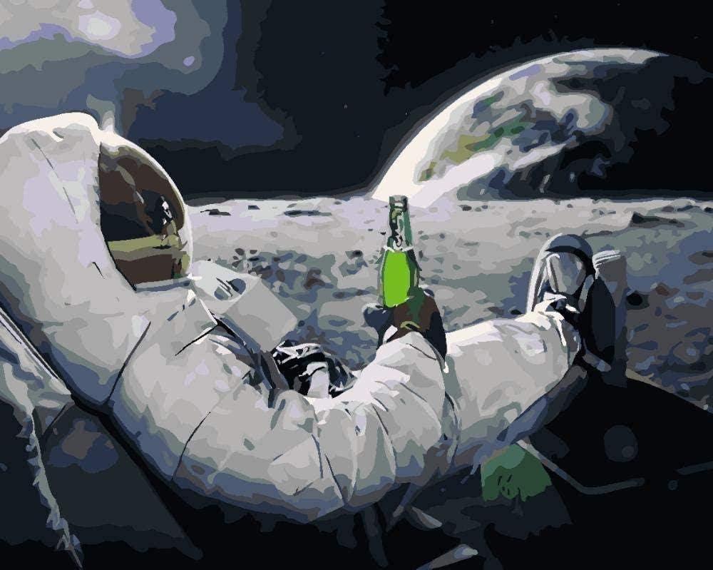 HAO Paint by Number Kits Astronauta Bebiendo Cerveza Pintura acrílica DIY para niños y Adultos Principiante con Pinceles Pinturas Lienzo 40x50cm Sin Marco