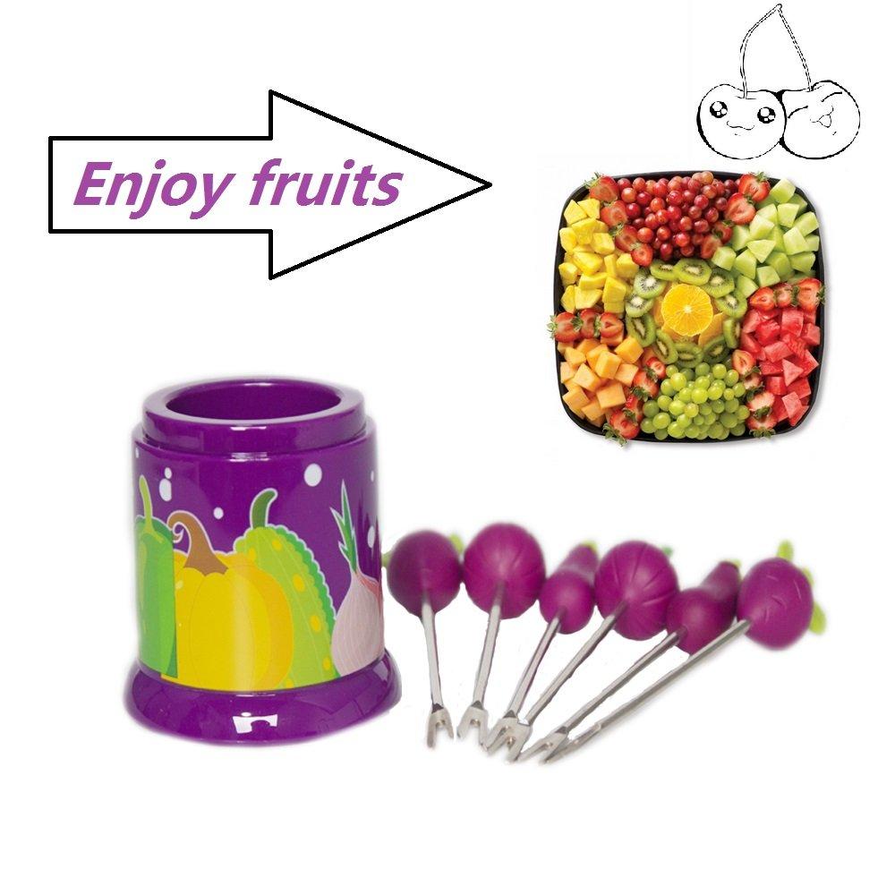 6pcsフルーツフォークディナーフォークステンレススチールフォークRoyal Cutlery for Kid Children 3.8インチ パープル B077Z5PGR2 パープル パープル