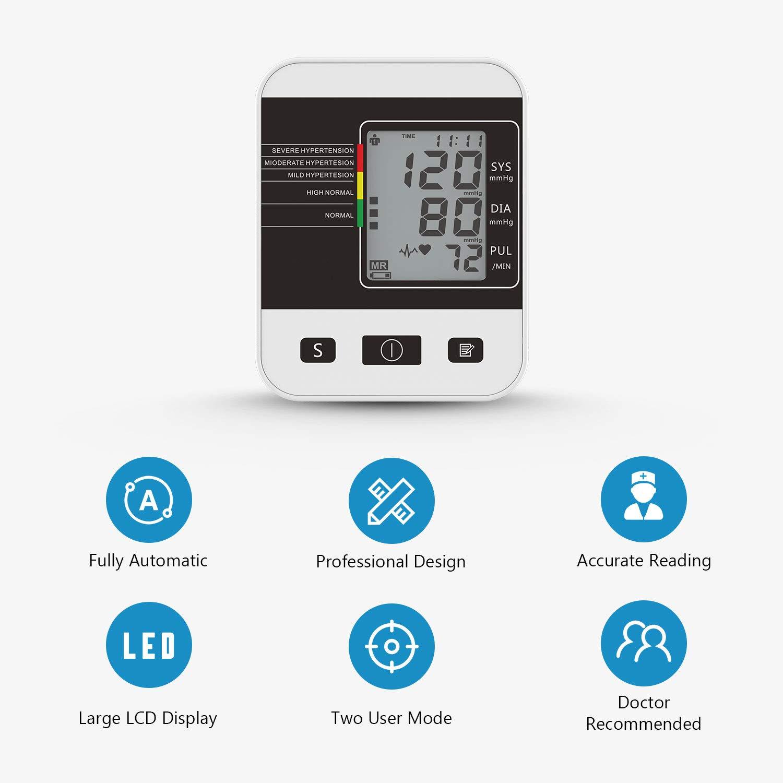 CFMOUR Tensiómetro de Brazo Digital,Eléctrico de Presión Arterial Medición Automática de la Presión Arterial y pulso de frecuencia cardíaca detección,2 ...