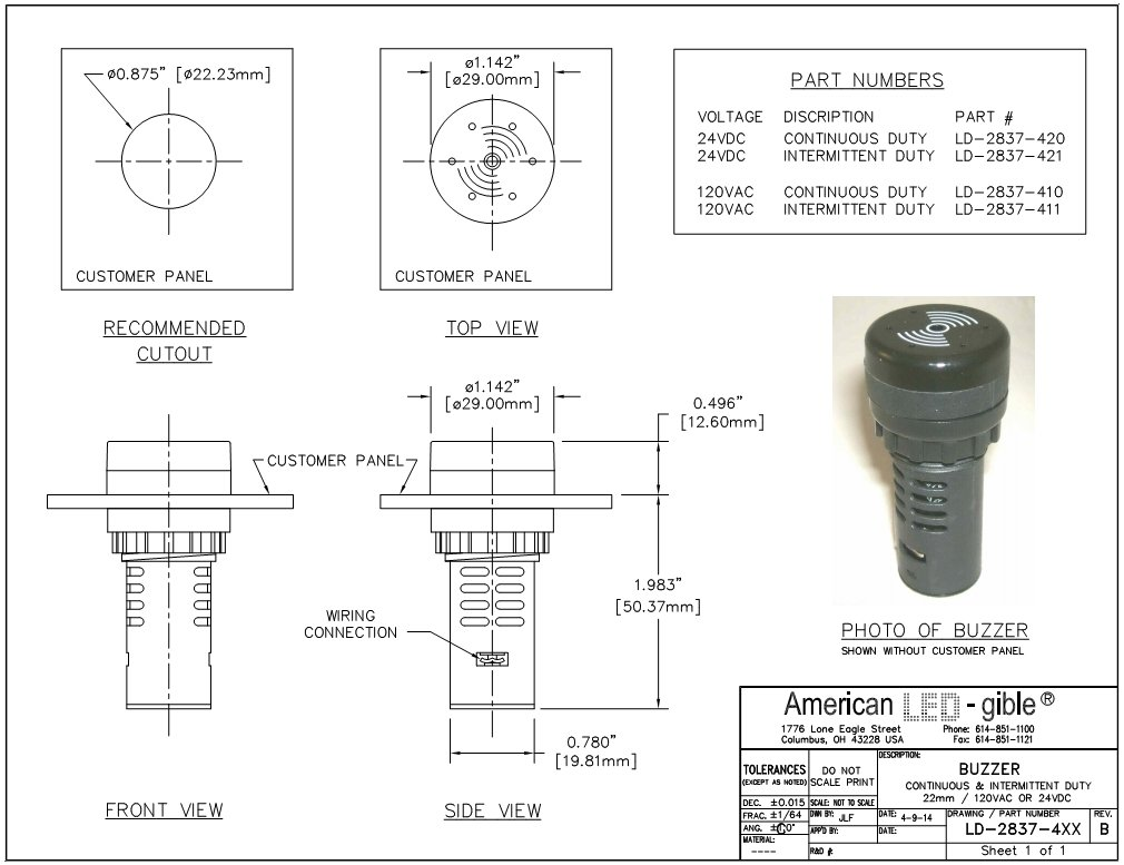 American LED-gible LD-2837-410 22mm Panel Mount Buzzer, 120V, Continuous Duty
