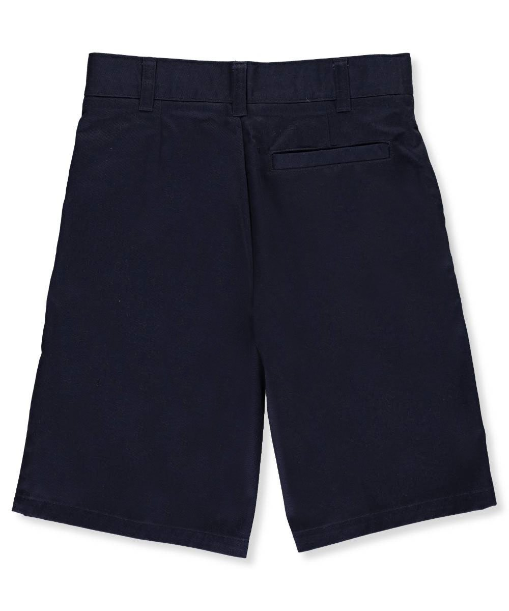 French Toast Unisex Flat Front Twill Shorts with Adjustable Waist - navy, 14