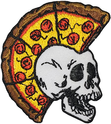 Papapatch Skeleton Skull Pizza Head Punk Ride Motorcycle Chopper Jacket Vest Costume DIY Sew Iron on Embroidered Applique Badge Sign Patch - Brown (IRON-SKULL-PIZZA-PUNK-BROWN) (Skeleton Choppers)