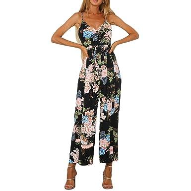 fa2b48f53add4 Shinekoo Women Strap V Neck Backless Sleeveless Jumpsuit Floral Print  Boohoo Beach Jumpsuit with Split: Amazon.co.uk: Clothing