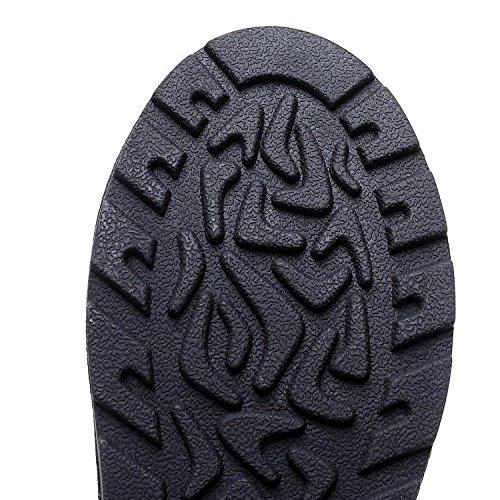 dei dei delle BLACK donne del 37 della testa neve rhinestone rhinestone rhinestone scarponi pelle NSXZ stivali rotonda 35 rivetto d'inverno da bovina qTHvXxPn