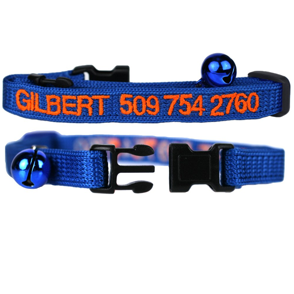 Cat Collars. Embroidered Cat ID Collars with Pet Name & Phone Number. Safety Release Buckle.