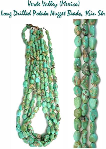 Nuevo Mine – Verde Valley (México) turquesa largo taladrado patatas Nugget Beads para la elaboración de joyería. Una cadena de 40,6 cm.: Amazon.es: Juguetes y juegos