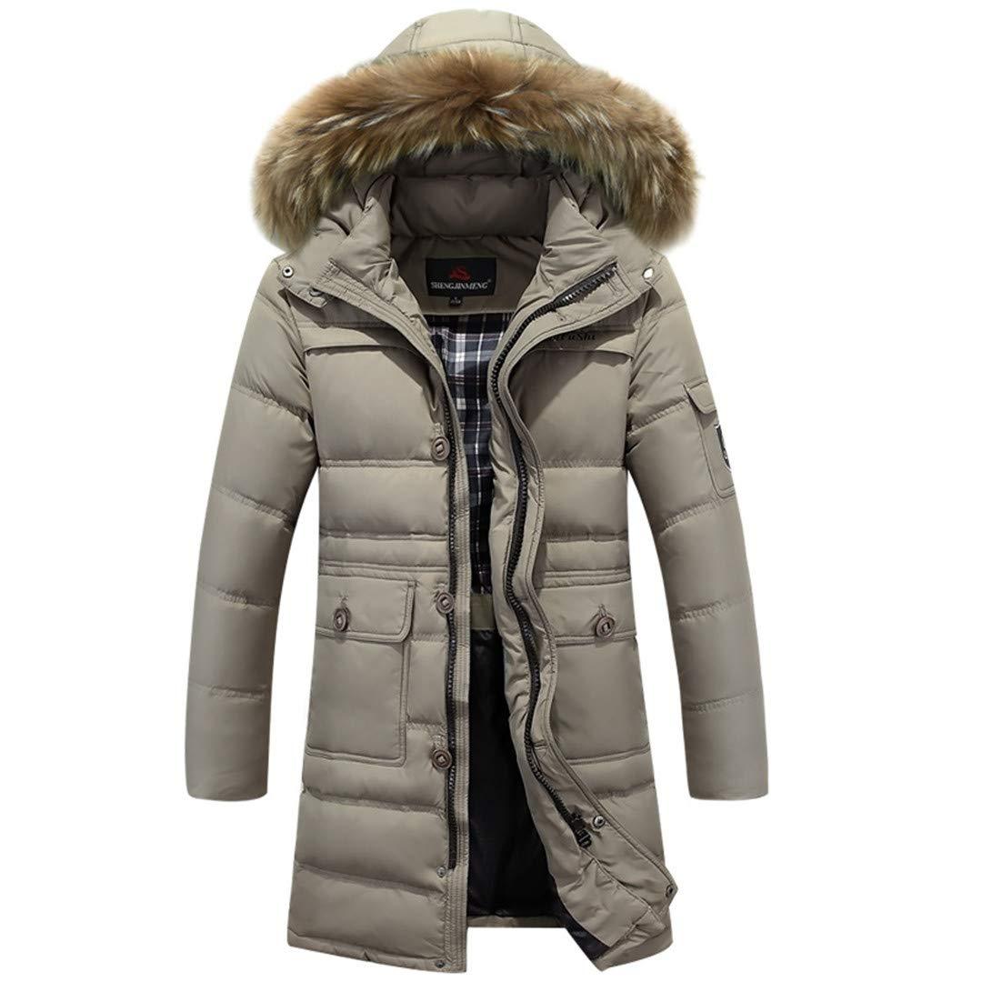 DONGMUAN Winter Men 90% White Duck Down Slim Parka Thickening Fur Outerwear Jacket