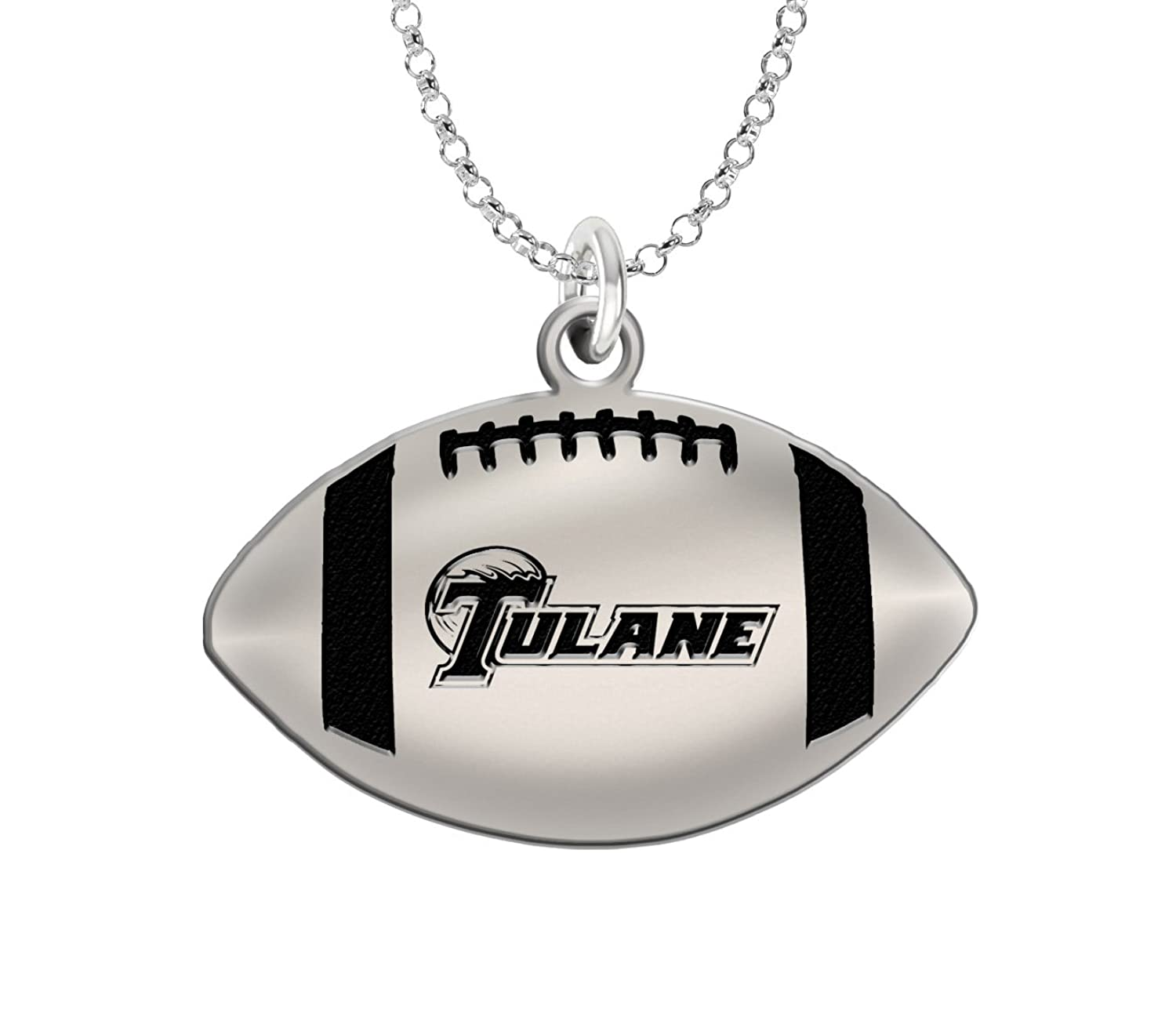 Home college tulane green wave tulane green wave silver plated - Amazon Com Tulane Green Wave Sterling Silver Antiqued Football Cut Out Pendant Jewelry