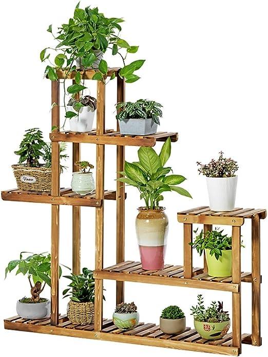 Soporte De Plantas Grandes para Patio, Jardín, Sala De Estar, En Interiores, Al Aire Libre, Estante De Macetas De Bambú con Múltiples Almacenamientos, 120 × 25 × 120 Cm: Amazon.es: Hogar