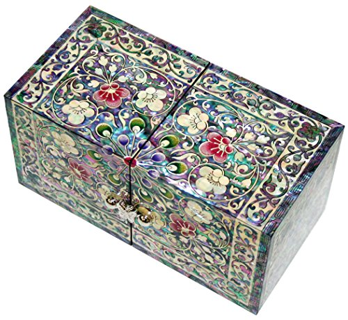 Jmcore Mother of Pearl Arabesque Design Jewelry Box Organizer Nacre Jewellry Case by JMcore High Quality Jewelry Box