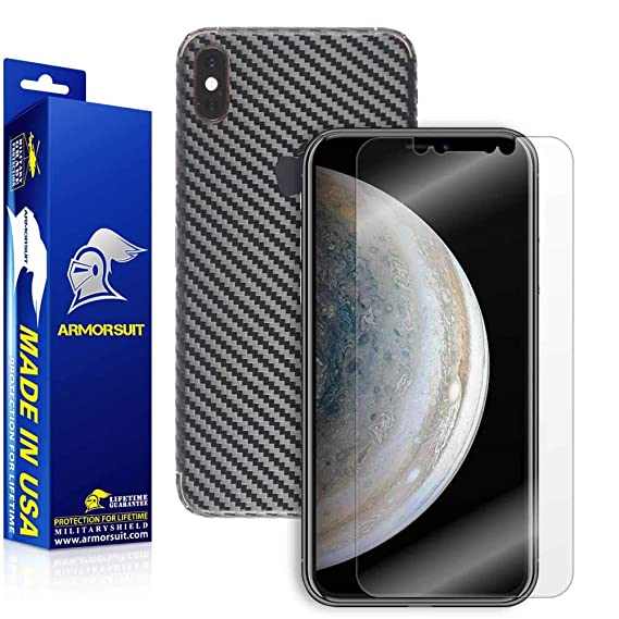 online retailer a4364 a0722 ArmorSuit Apple iPhone Xs Max Screen Protector MilitaryShield + Black  Carbon Fiber Skin Wrap Film Back Film Protector for Apple iPhone Xs Max