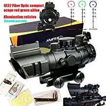 Sniper Tactical 4x32 Prismatic Glass Crosshair Reticle Scope w/ Fiber Optic Sight