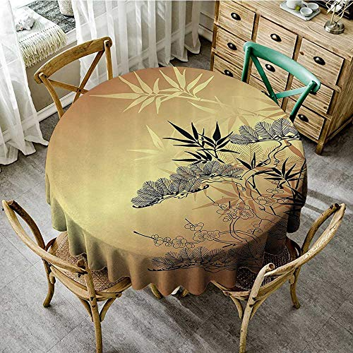 (familytaste Dust-Proof Table Cover Japanese Decor,Asian Style Branches and Bamboo Motifs with Showy Fragrant Leaves Nature Illustration,Sepia Black D 70