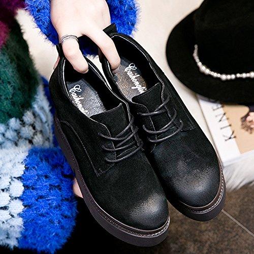 Giy Plataforma De Moda De Mujer Low Top Sneaker Grueso Inferior Altura AuHombrestada Casual Wedge Shoes Black