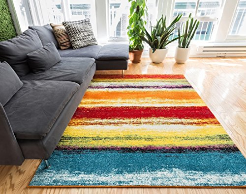 Puglia Multi Stripe Red Orange Yellow Blue Stripe Modern Geometric Brush Stroke Area Rug 5 x 7 ( 5'3