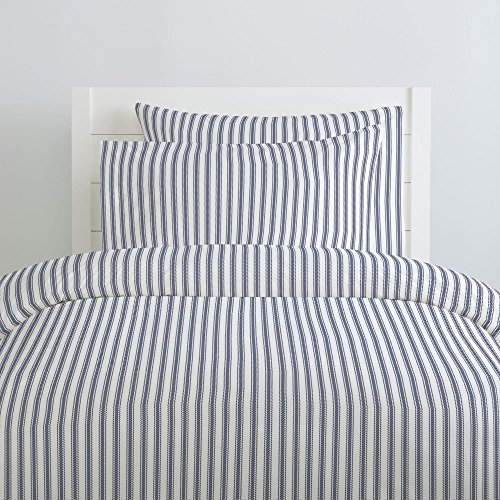(Carousel Designs Windsor Navy Ticking Stripe Duvet Cover Twin Size - Organic 100% Cotton Duvet Cover - Made in The USA)