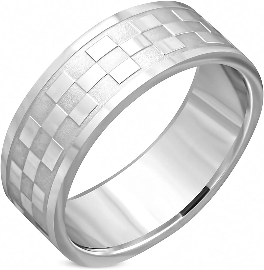 Stainless Steel Checker// Grid Wedding Flat Band Ring