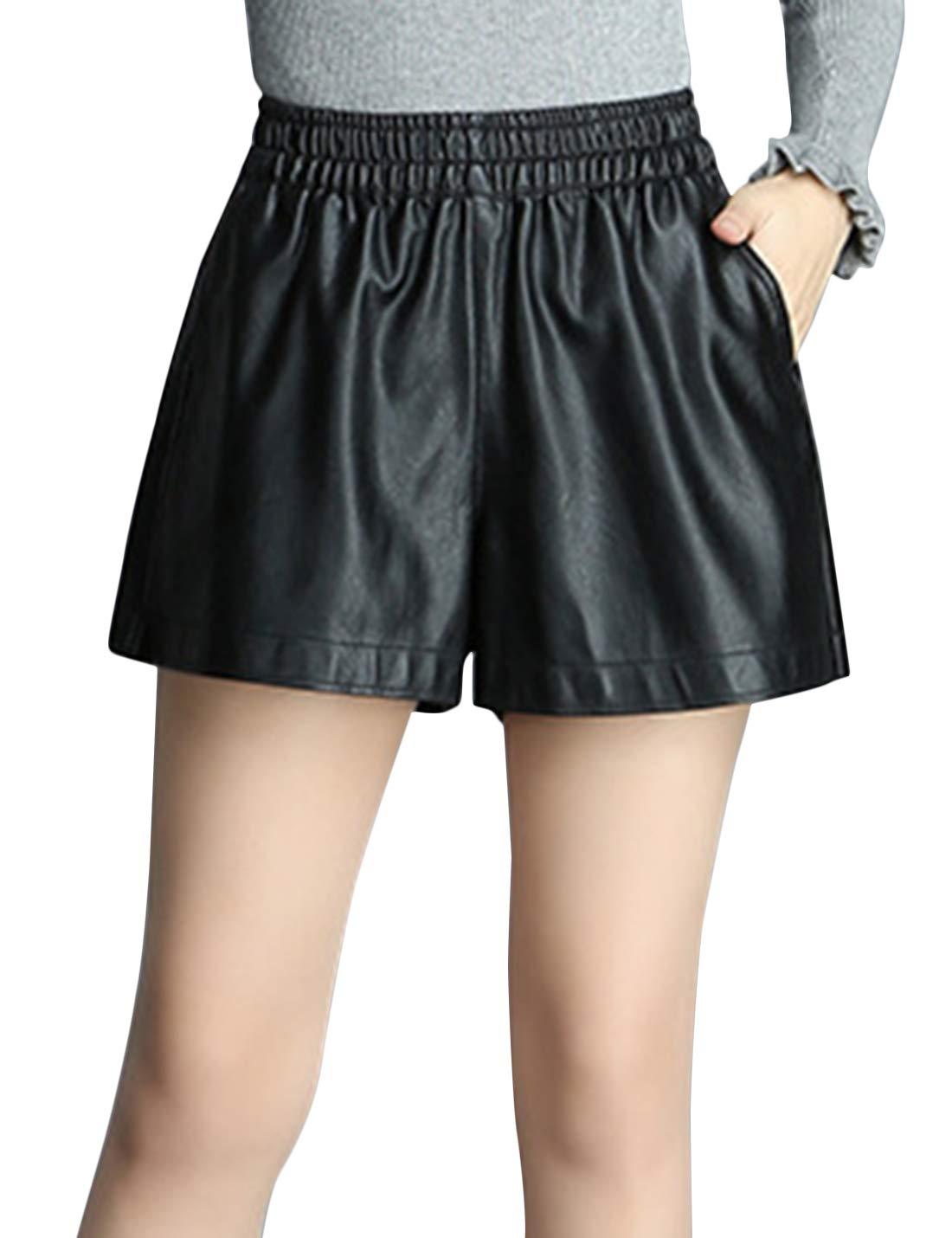 Tanming Womens Casual Elastic Waist PU Leather Shorts Wide Leg Shorts with Pockets (Black, Medium)