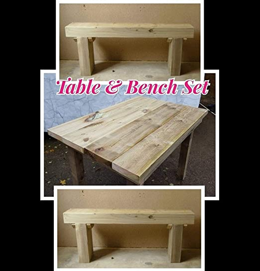 Jardín Sleeper banco de madera (X2) y una mesa rústica conjunto ...
