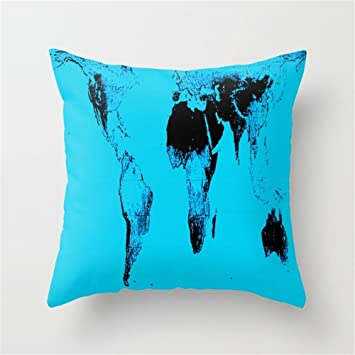 Amazon Com Jay94 World Map Gall Peters Blue Cushion Covers Throw