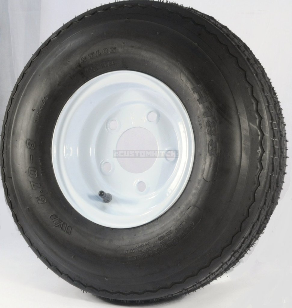 eCustomRim 2-Pk Trailer Tire & Rim 570-8 5.70-8 8'' Load C 5 Lug White 39326
