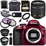 Nikon D3300 DSLR Camera with AF-P 18-55mm VR Lens (Red) + Sony 128GB SDXC Card + Carrying Case Bundle