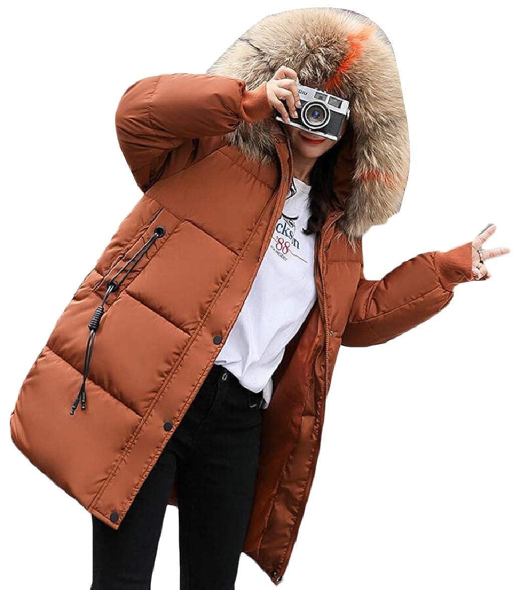 1 ouxiuli Women Loose FauxFur Collar Thicken Outerwear Padded Down Jacket Coat