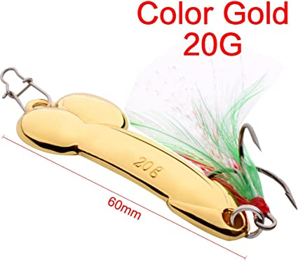 Funny Spoon Fishing Lure 5g-20g with Feather Hooks Gold//Silver Metal Bait Tackle